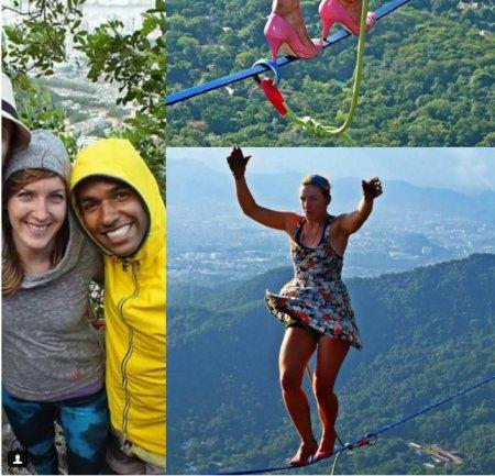 По канату на каблуках: в Бразилии прошел фестиваль женщин-канатоходцев