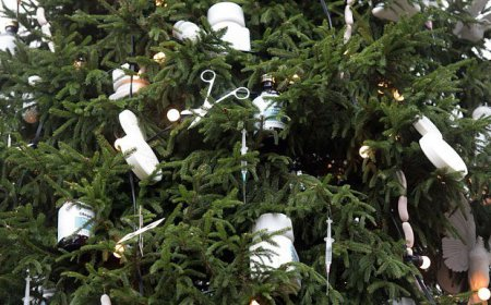 Один из самых дорогих художников мира украсил новогоднюю елку шприцами и сосиками. ФОТО