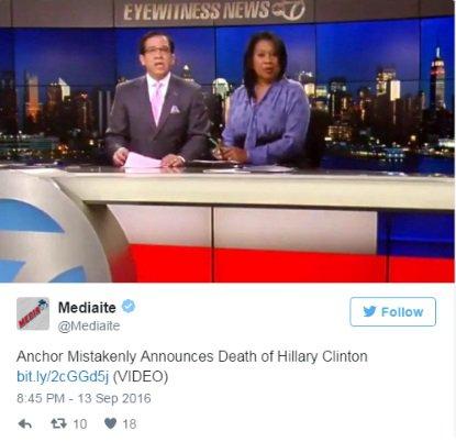 Ведущий американского канала по ошибке объявил о смерти Хиллари Клинтон